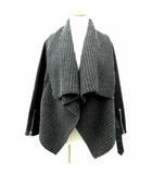 ダブルスタンダードクロージング ダブスタ DOUBLE STANDARD CLOTHING 15AW ゴートレザー ニット ジャケット ライダース やぎ革 コンビ 36 S 黒 ブラック グレー 2552053 A773