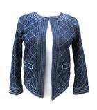 ダブルスタンダードクロージング ダブスタ DOUBLE STANDARD CLOTHING 16年モデル 綿麻 デニム ジャケット ノーカラー キルティングステッチ 34 S インディゴ 紺 ネイビー 2529061 A774