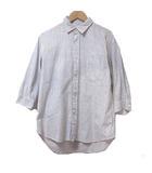 ジャーナルスタンダード JOURNAL STANDARD シャツ 7分袖 七分袖 レザーパイピング ストライプ グレー 白 ホワイト M コットン 胸ポケット X