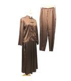 カネコイサオ KANEKO ISAO 3ピース セットアップ サテン パンツ スカート ブラウス ピコ刺繍 無地 F 茶 ブラウン S847 OFH