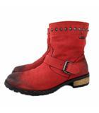 ディーゼル DIESEL ショート ブーツ レザー エンジニア スタッズ USED汚れ加工 24.5cm 赤 レッド ECM A