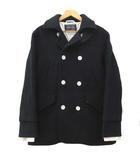 ホワイトライン WHITE LINE レイヤード スリーブ メルトン ウール Pコート ジャケット 48 Lサイズ 黒 ブラック S