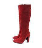 エルメス HERMES スリム ロング ブーツ スウェードレザー 36.5 36 1/2 約23.5cm 赤 レッド 箱保存袋付き イタリア製 IBS50 A