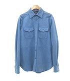 ボリオリ BOGLIOLI レザー ジャケット 千鳥チェック柄 本革 ワークシャツ イタリア製 48 Lサイズ 青 ブルー S1364 IBS50