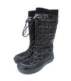 コーチ COACH レインブーツ エナメル シグネチャー × レザー ロングブーツ 長靴 雨靴 5 E 22cm 黒 ブラック S IBS52