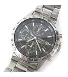 セイコー SEIKO 腕時計 クロノグラフ クォーツ 7T92-0DW0 ステンレス ウォッチ デイト カレンダー 動作確認済み 文字盤黒 シルバーS