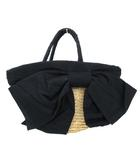 ダブルスタンダードクロージング ダブスタ DOUBLE STANDARD CLOTHING かごバッグ バスケット リボン ハンドバッグ 黒 ブラック ベージュ S