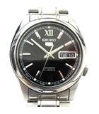 セイコー SEIKO 5 ファイブ 7S26-01V0 腕時計 自動巻き オートマチック 21石 裏スケルトン ステンレス 海外モデル 黒文字盤 ローマン A