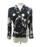 レオナール LEONARD 花柄 シャツ ジャケット フラワープリント トップス コットン 薄手 M 黒 ブラック S IBS52
