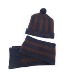 セリーヌ CELINE キッズ ニットキャップ 帽子 約3~4ヵ月まで マフラー セット ボーダー ロゴ 子供 ベビー 日本製 オンワード樫山 ネイビー ブラウン S