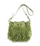 サマンサベガ Samantha Vega フリンジ ショルダーバッグ レザー スウェード 巾着バッグ ドロストバッグ 皮革 緑 グリーン S  NVW