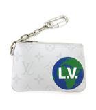 ルイヴィトン LOUIS VUITTON 19年製 ジップド・ポーチ PM M67809 モノグラム レザー カードケース コインケース 名刺入れ 小物入れ フランス製 白 ホワイト S
