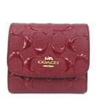 コーチ COACH 美品 二つ折り 財布 エンボスドパテント シグネチャー スモールウォレット 赤 レッド