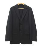 グッチ GUCCI 美品 ウール テーラードジャケット 無地 シンプル ビジネス 式典 カジュアル スイス製 国内正規 44 M 黒 ブラック IBS91
