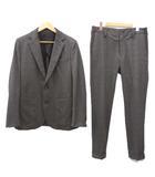 美品 20SS CARREMAN TR STRETCH CHECK RIB スーツ リブ ジャケット スラックス パンツ セットアップ チェック パーティー 式典 カジュアル 4 Mサイズ 茶 ブラウン