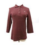 ニット ポロシャツ 七分袖 コットン ハイゲージ ワンポイント刺繍 42 ボルドー 赤 レッド