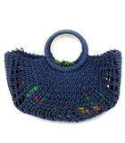 シビラ SYBILLA 美品 かご バッグ バケット 巾着 花柄 2way 紺 ネイビー 緑 鞄 FK IBS91