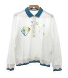 バーバリーズ Burberrys ヴィンテージ ポロシャツ 長袖 ゴルフ 魚 刺繍 デザインリブ L 白 ホワイト