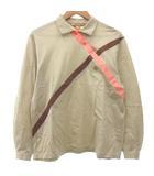 クリスチャンディオール Christian Dior ヴィンテージ 長袖 シャツ アシメントリー テープ デザイン ポロシャツ M ベージュ