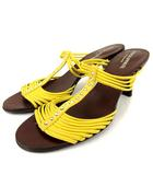 ソニアリキエル SONIA RYKIEL ミュール サンダル ハイヒール レザー ラインストーン 黄色 茶 35.5 靴 シューズ FK RRR