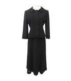 アクアスキュータム AQUASCUTUM スーツ ジャケット ロング スカート セットアップ デザインボタン 袖シースルー 式典 卒業式 入学式 7 Sサイズ 黒 ブラック