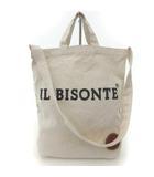 イルビゾンテ IL BISONTE ショルダー バッグ ハンド 2way キャンバス レザーワッペン ロゴ 白 ホワイト 鞄 FK RRR