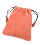 ミュウミュウ miumiu レザー ポーチ 巾着型 小物入れ 皮革 イタリア製 ピンクベージュ系 ECR3