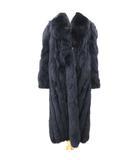 サガフォックス SAGA FOX 美品 銀サガ 染め ブルーフォックス コート ロング 毛皮 リアルファー ショールカラー 上質 高級 13 Lサイズ 紺 ネイビー ECR3