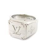 ルイヴィトン LOUIS VUITTON M62487 シグネットリング モノグラム M 指輪 19年製 印台 アクセサリー シルバーカラー イタリア製 ☆AA★