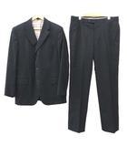 エルメス HERMES スーツ シングル ジャケット スラックス パンツ 上下 セットアップ ストライプ ビジネス 式典 イタリア製 国内正規 50 Lサイズ 紺 ネイビー ECR5