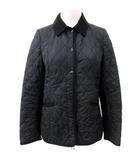 ハンター HUNTER キルティング コート ジャケット コーデュロイ 切替 ロゴ 黒 ブラック M相当 アウター FK ECR5