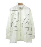 エルメス HERMES ボタンダウン シャツ 長袖 24 刺繍 カジュアル フランス製 40 153/4 約XLサイズ 白 ホワイト IBO11