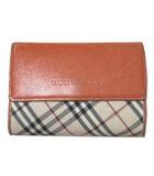 バーバリー BURBERRY ノバチェック 二つ折り財布 レディース 小銭入れあり ベージュ オレンジ NVW X