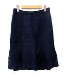 アスペジ ASPESI スカート ひざ丈 タイト 裾ペプラム リネン 麻 紺 ネイビー 38 M相当 FK