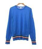 モンクレール MONCLER ガムブルー GAMME BLEU 18AW ニット セーター 長袖 シルク混 カシミヤ トリコロールライン カットソー イタリア製 国内正規 S 青 ブルー ECR7