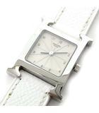 エルメス HERMES Hウォッチ HH1.210 腕時計 レザーバンド クオーツ 文字盤ベージュ □J刻印 ホワイト×シルバー 稼動品