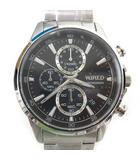 WIRED ワイアード クロノグラフ 腕時計 AGAT424 クオーツ ウォッチ ステンレス 文字盤黒 シルバー