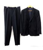 UOMO スーツ フォーマル セットアップ 上下 2点セット シングル 2B 総裏地 パンツ ストライプ 黒 ブラック 紺 ネイビー 54 L-XL相当 FK ●