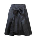プラダ PRADA スカート ひざ丈 インバーテッドプリーツ シルク 絹 黒 ブラック36 XSサイズ相当 小さいサイズ ウエストリボン RRR X