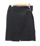 グッチ GUCCI タグ付き ひざ丈 スカート ホースビット 金具 バックスリット イタリア製 42 Lサイズ 黒 ブラック IBO15