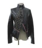 ルイヴィトン LOUIS VUITTON 美品 16年 レザー ジャケット モノグラム スタンドカラー 革ジャン ブルゾン イタリア製 国内正規 36 Sサイズ 黒 ブラック