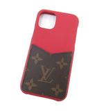 ルイヴィトン LOUIS VUITTON iPhone バンパー 11pro スマホケース モノグラム レザー スマートフォンケース アイフォンケース イタリア製 スカーレット(赤)