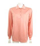 ランバン LANVIN GOLF ゴルフ ポロシャツ 長袖 衿裏ロゴ カットソー L刺繍 ピンク M 国内正規品