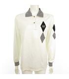 クリスチャンディオール Christian Dior SPORTS ポロシャツ 長袖 カットソー ストライプ ロゴ刺繍 白 黒 ホワイト ブラック M