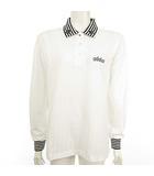 アダバット adabat ポロシャツ 長袖 ストライプリブ ロゴ 刺繍 白 ホワイト ゴルフ