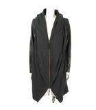 ダブルスタンダードクロージング ダブスタ DOUBLE STANDARD CLOTHING ジップアップ ジャケット フーディー ドレープ 袖レザー テンセル チャコールグレー 黒 ブラック 38