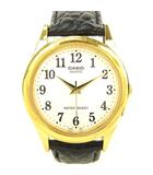 カシオ CASIO MTP-1093 クオーツ 腕時計 ウォッチ レザーベルト 白文字盤 ゴールド ブラック