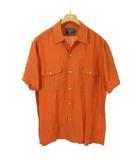 チャップス CHAPS ラルフローレン オープンカラー シャツ ボックスシルエット 半袖 L オレンジ系