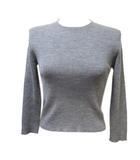 プラダ PRADA ニット クルーネック 国内正規品 ウール シルク混 セーター 長袖 リブ 灰 グレー 38 Sサイズ相当 X