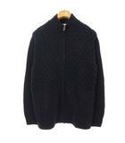 シーケーカルバンクライン ck Calvin Klein ウール ケーブル ニット ジャケット カーディガン セーター ジップアップ L ネイビー 国内正規品